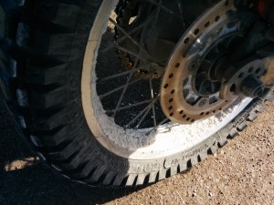 Crusted gypsum on my rims. It would last for days.