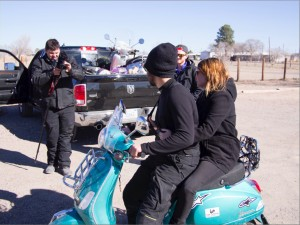 Ashton filming Jeremy giving Lauren a ride; Jordan probably wondering if he's going to have repair another scooter.