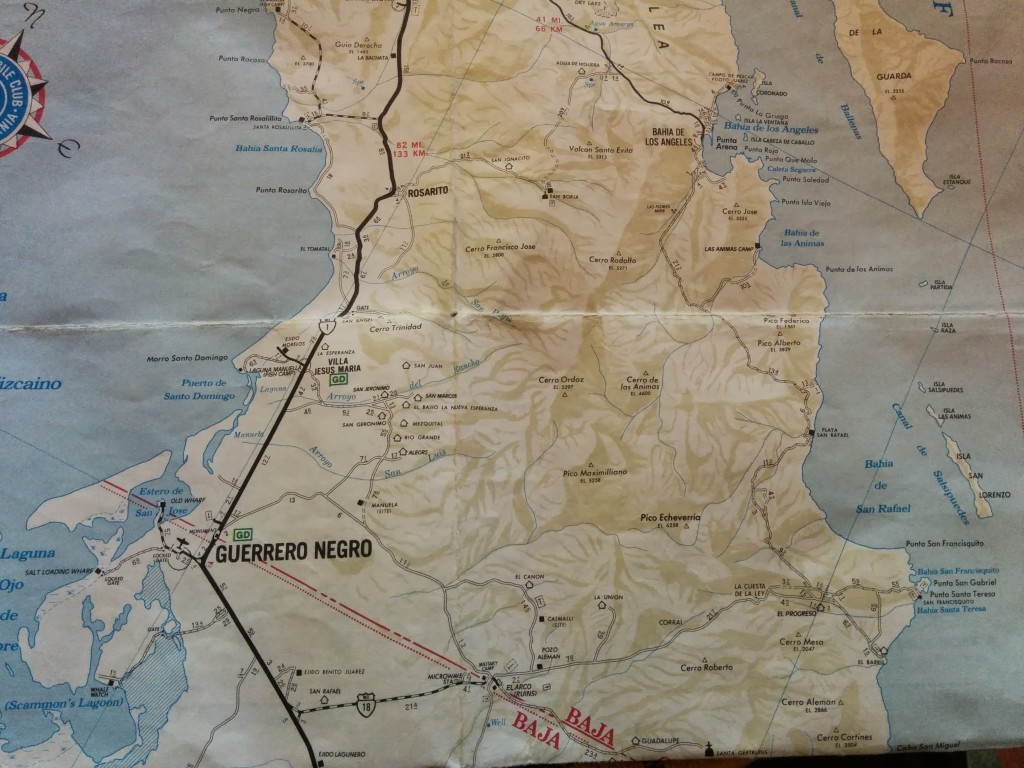 You can see the route I wanted to take south of Bahia de Los Angeles on the right hand side there, and the actual route to MEX1 through San Borja near the top.