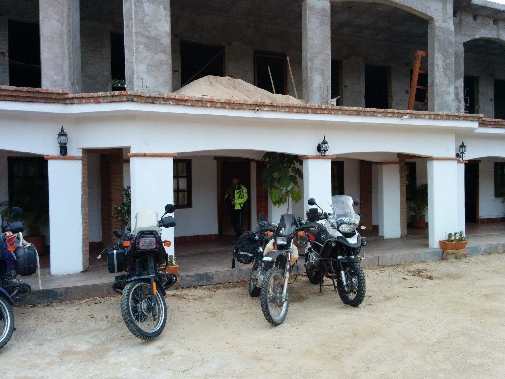 Bikes resting in the courtyard.